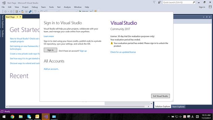 Bản Community Visual Studio 2017 chỉ cho sử dụng 30 ngày